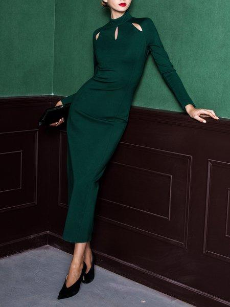 Dark Green Cutout Sheath Elegant Turtleneck Maxi Dress
