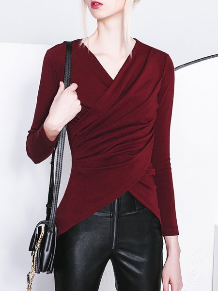 Wine Red Casual Asymmetrical Ruched Long Sleeve Top