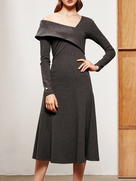 Gray Elegant Swing One Shoulder Modal Midi Dress