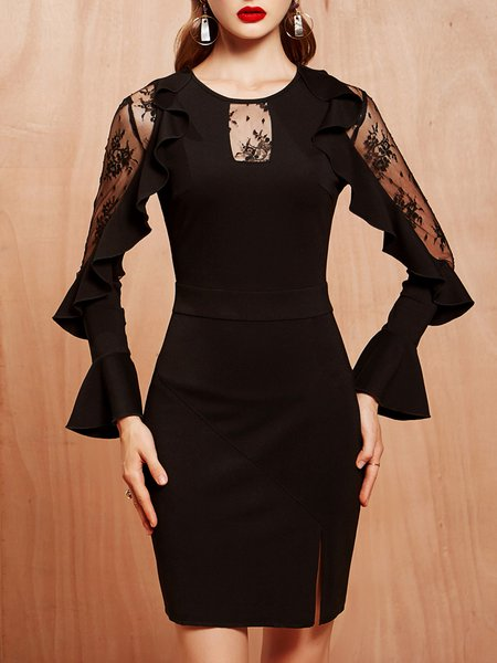 Black Slit Frill Sleeve Sheath Party Dress