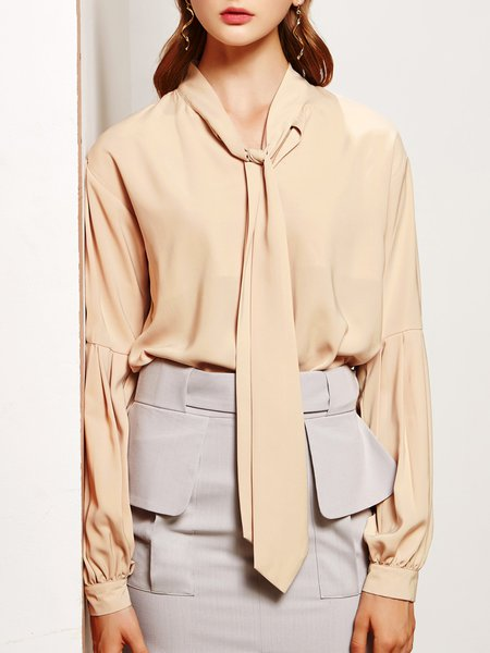 Balloon Sleeve Girly Solid Bow Blouse