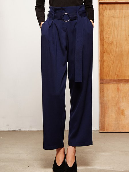 Navy Blue Solid Casual Straight Leg Pants With Belt