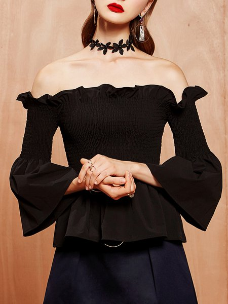 Frill Sleeve Ruffled Off Shoulder Elegant Top