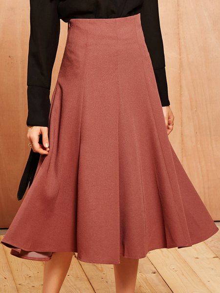 Deep Pink Swing Casual Gathered Midi Skirt