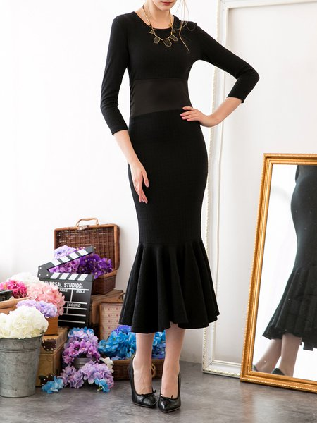 Elegant Long Sleeve Mermaid Embossed Plain Evening Dress