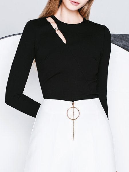 Black Cutout Crew Neck Simple Long Sleeve Top
