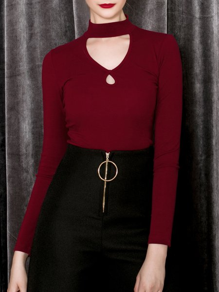 Wine Red Cutout Casual Halter Long Sleeve Top