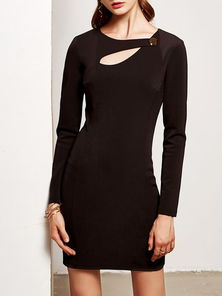 Black Cotton-blend Solid Cutout Buttoned Long Sleeve Mini Dress