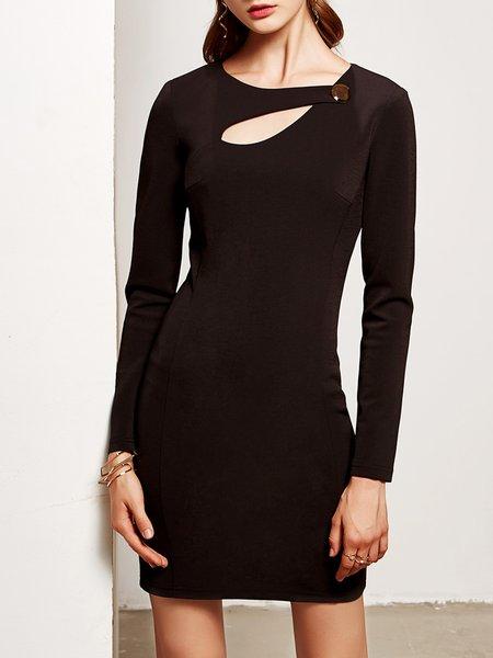 Black Cotton-blend Solid Cutout Buttoned Long Sleeve Mini Dress