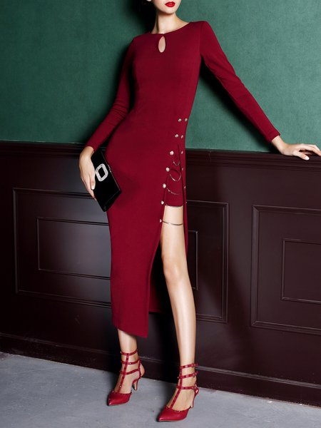 Red Keyhole Long Sleeve Chain-trimmed Slit Solid Maxi Dress