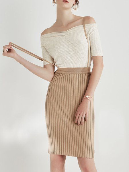 Casual Knitted Bodycon Solid Midi Skirt