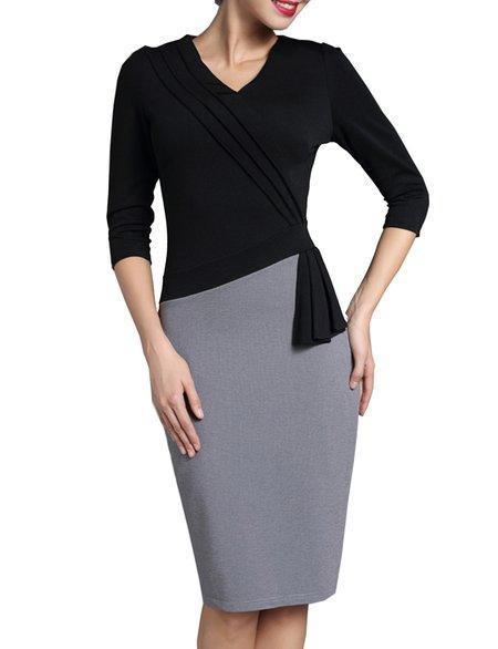 Black Paneled 3/4 Sleeve V Neck Midi Dress