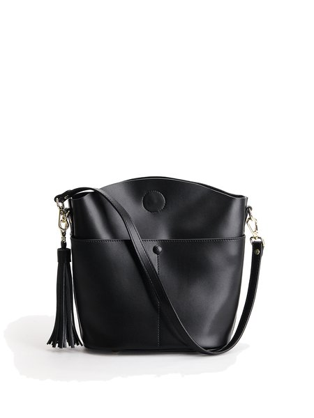Tassel Casual Solid Cowhide Leather Snap Shoulder Bag