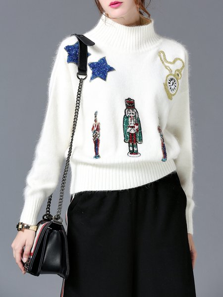 Sequins Knitted Turtleneck Cute Long Sleeve Sweater