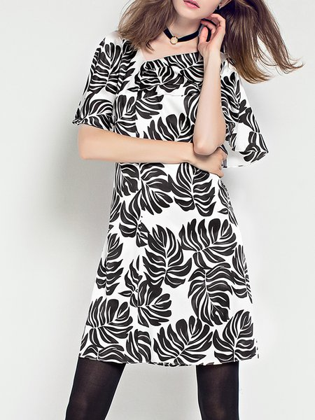 Short Sleeve Statement Silk-blend Leaf Printed Mini Dress
