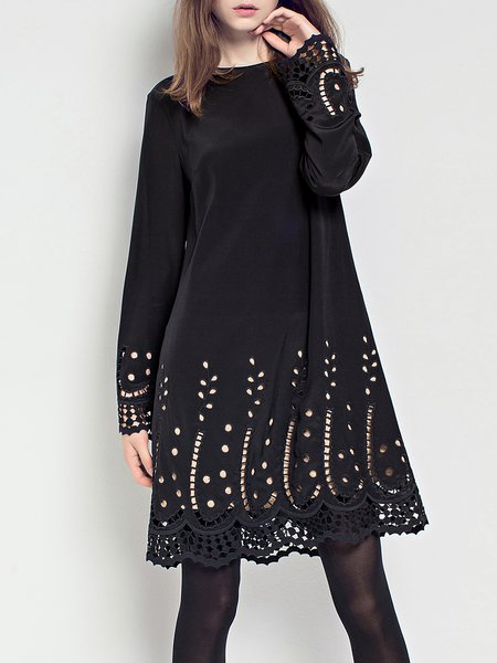 Long Sleeve Pierced Crew Neck A-line Statement Mini Dress