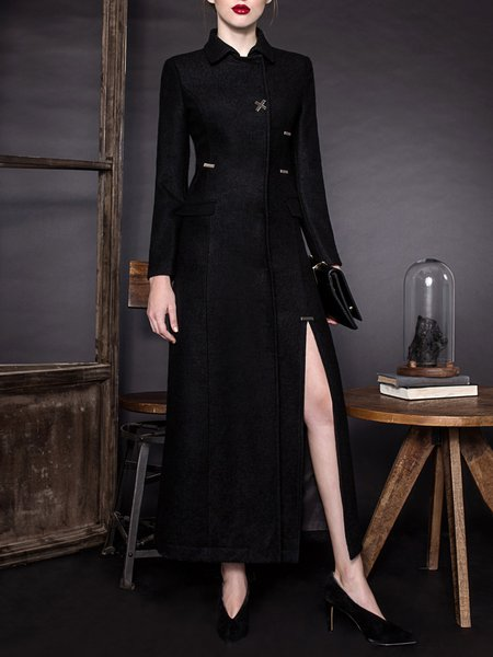 Shirt Collar Slit Grommet Solid Long Sleeve Casual Coat