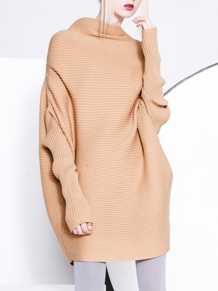 Camel Batwing Turtleneck Sweater Dress