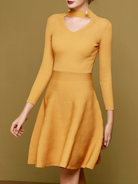 Long Sleeve Elegant A-line Cutout Cotton-blend Sweater Dress