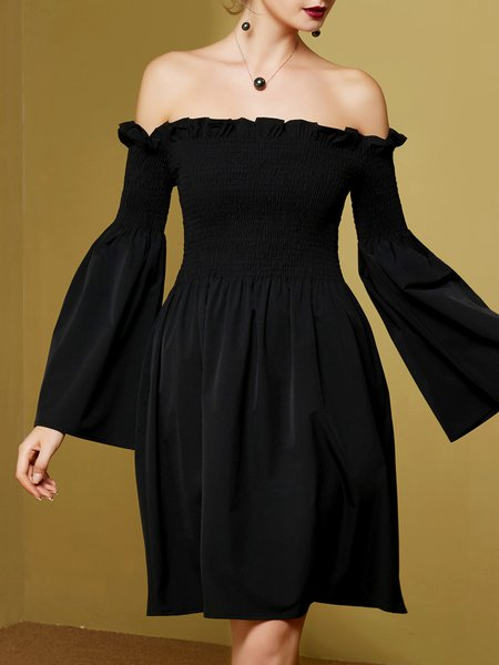Black Off Shoulder Frill Sleeve A-line Ruffled Mini Dress