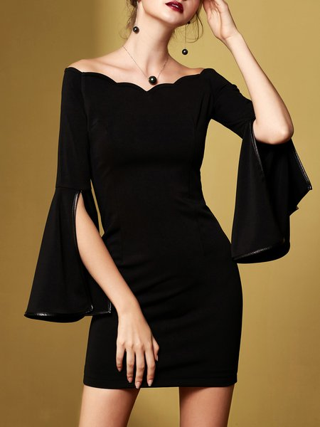 Black Bell Sleeve Solid Off Shoulder Mini Dress