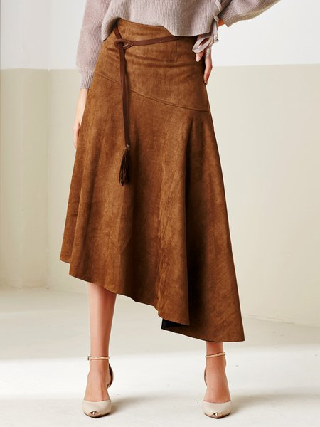 Camel Gathered Simple Faux Suede Midi Skirt With Belt
