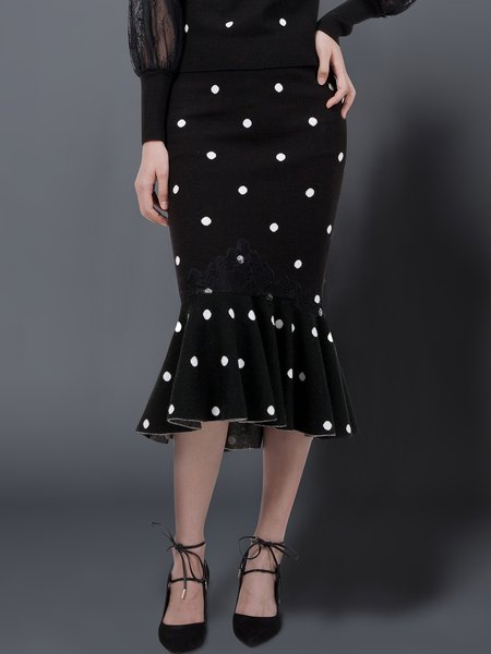 Black Mermaid Polka Dots Wool Blend Elegant Midi Dress
