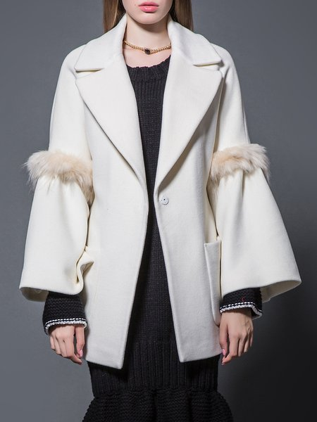 Long Sleeve Casual Wool Blend Solid Pockets Coat