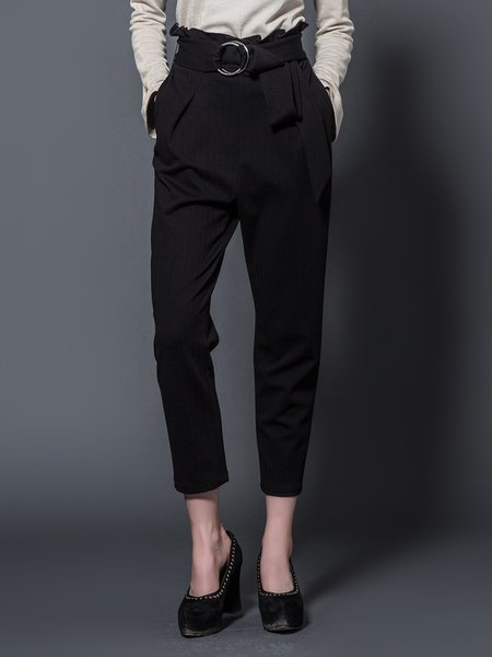 Black Plain Folds Knitted Casual Straight Leg Pant