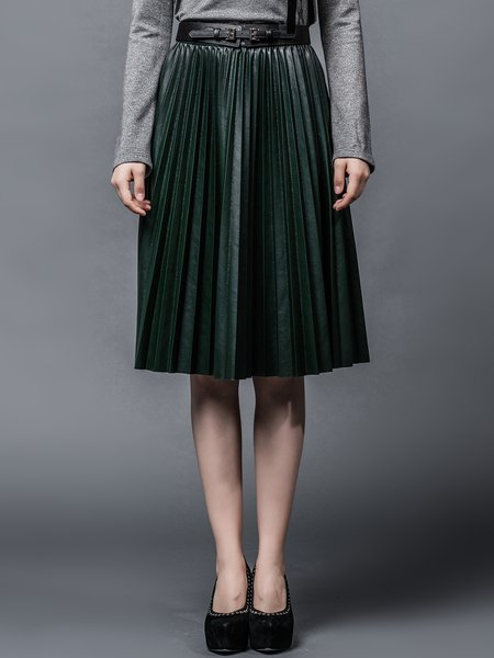 Dark Green Pleated Casual A-line Plain Leather Skirt - StyleWe.com
