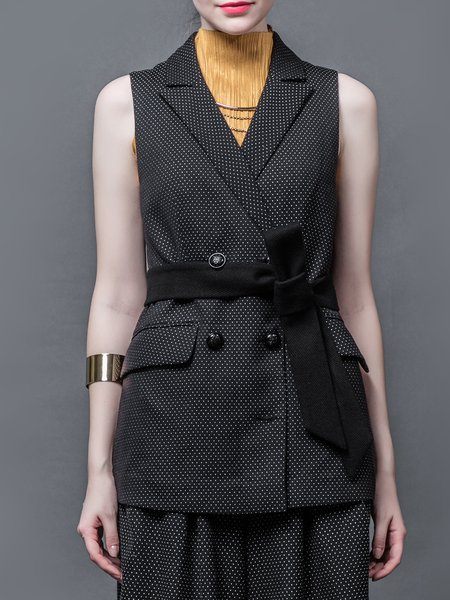 Black Lapel Sleeveless Polka Dots Coat