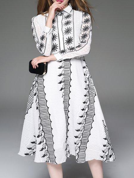 White V Neck A-line Casual Cotton Boho Dress