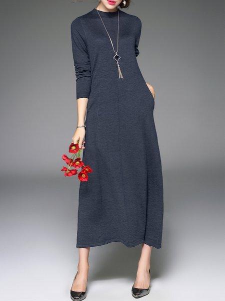 Simple Long Sleeve Sheath Plain Midi Dress