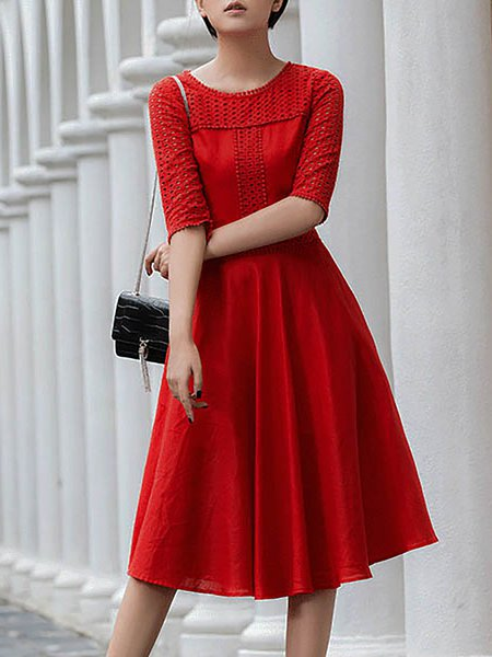 A-line Half Sleeve Crew Neck Plain Elegant Midi Dress