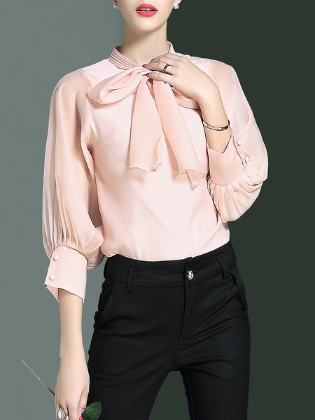 Pink Stand Collar Plain 3/4 Sleeve Bow Gathered Blouse
