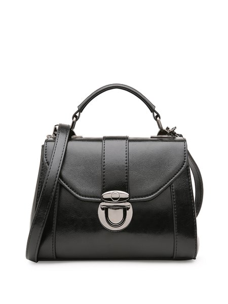 Leather Push Lock Casual Crossbody Bag