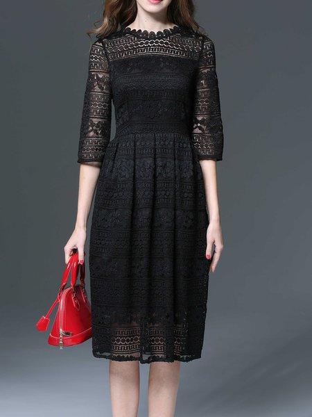 Black A-line Elegant Guipure Party Dress