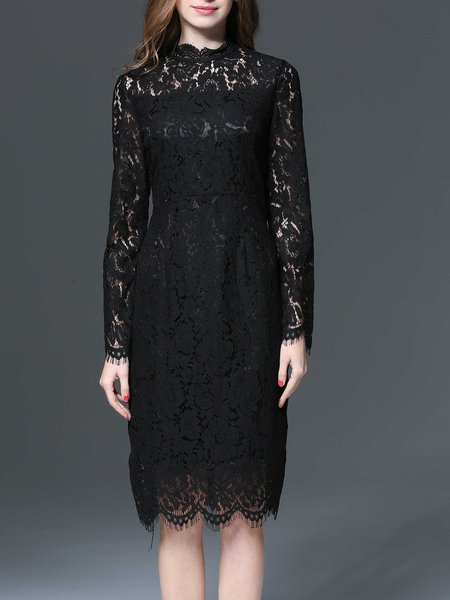 Black Guipure Lace Crew Neck Sheath Elegant Party Dress