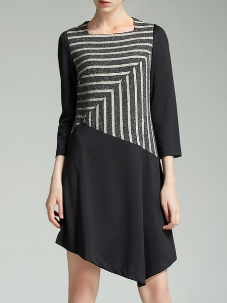 Asymmetrical Elegant 3/4 Sleeve Mini Dress
