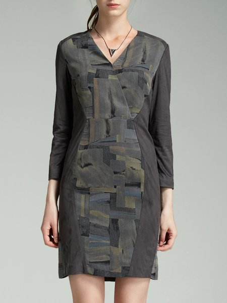 Deep Gray Paneled Elegant V Neck Mini Dress