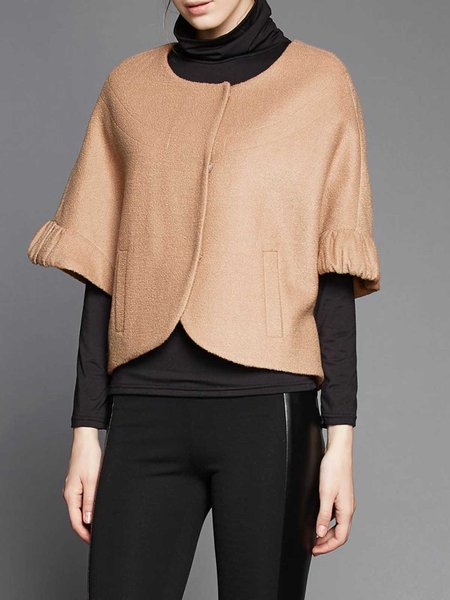 Khaki Batwing Pockets Cropped Jacket