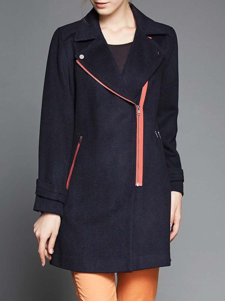 Black Long Sleeve Pockets Lapel H-line Coat
