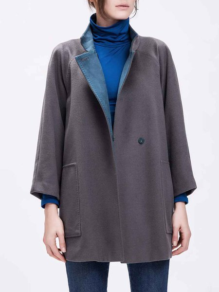 Gray Casual Stand Collar Coat with Pockets