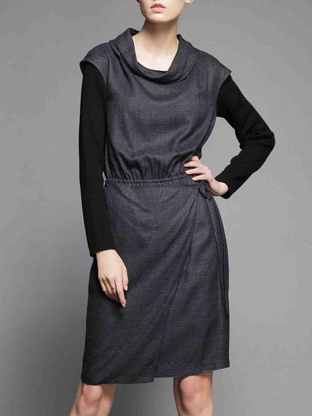 Deep Gray Paneled Viscose Cowl Neck Midi Dress
