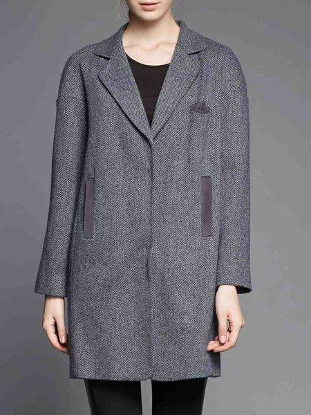 Deep Gray H-line Simple Wool Coat