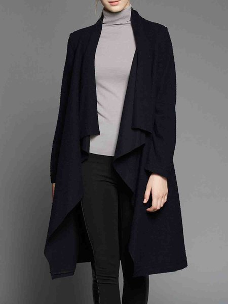 Black Asymmetric Casual Wool Coat