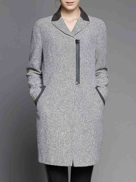 Gray Simple Pockets Lapel H-line Coat