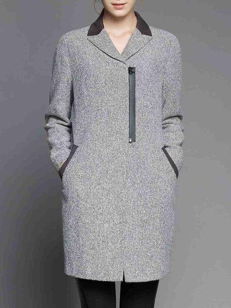 Gray Simple Pockets Lapel H-line Coat