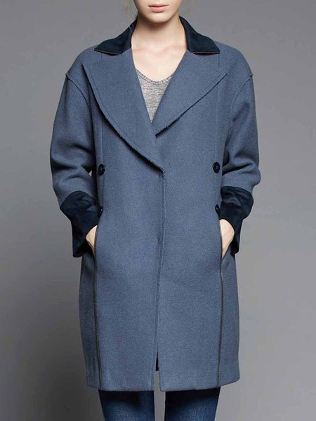 Paneled H-line Long Sleeve Lapel Plain Coat