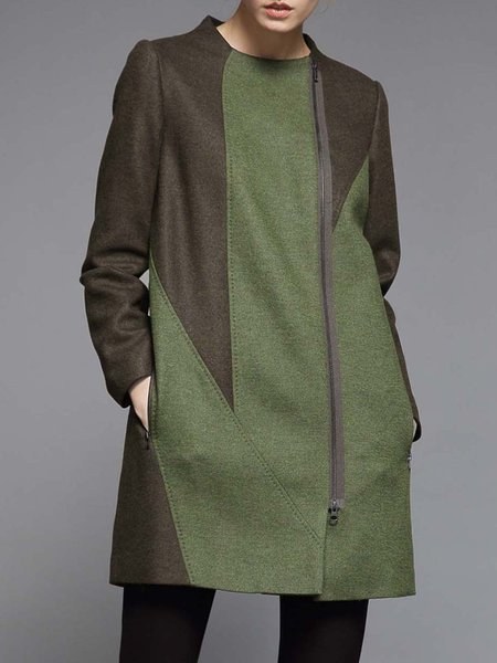 Dark Green Long Sleeve Color-block Wool Coat